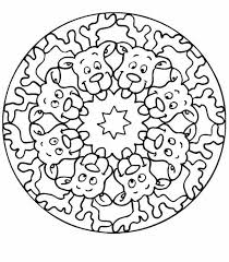 santa reindeers mandala christmas coloring pages place color