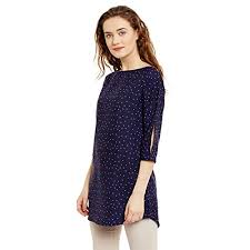 ruhaan u0027s women navy blue color star printed tunic bs 7046