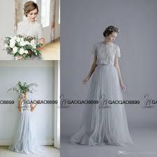 dusty wedding dress gray dusty blue lace blouse summer boho wedding