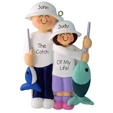 fishing with rods and fish ornament personalized