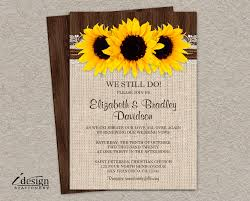 vow renewal invitations diy rustic sunflower vow renewal invitation printable country