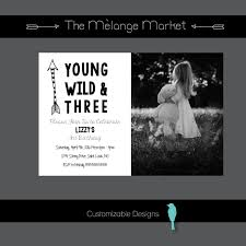 printed birthday invitations birthday invitations 3rd birthday young wild and three