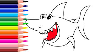 shark coloring page cute fish to color with watercolors and