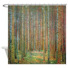 Artistic Shower Curtains Gustav Klimt Pine Forest Shower Curtain By Iloveyou1