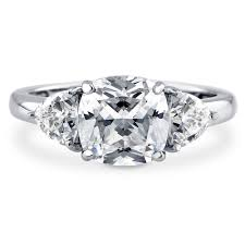 three stone engagement rings sterling silver cushion cubic zirconia cz 3 stone engagement ring