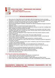 Line Cook Job Description For Resume by Executive Chef Job Description