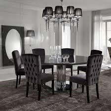 black wooden dining table set dining room furniture italian modern designer chrome round dining