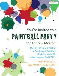 printable party invitations free printable paintball party invitations