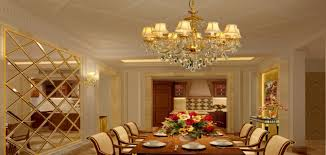 golden chandeliers and partition for luxury dining room golden