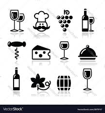 wine vector wine icons set glass bottle restaurant food vector image