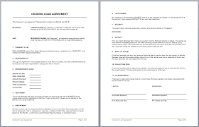 housing loan contract template u2013 microsoft word templates