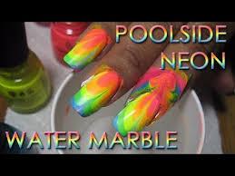 poolside neon rainbow water marble 2 diy nail art tutorial
