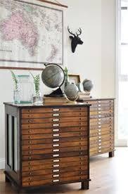 flat file cabinet antique wood art plan map blueprint files by