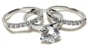 wedding ring trio sets classic 2 25 ct rd brilliant cut cz engagement trio ring set