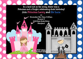 princess knight birthday invitation party for twins or