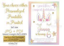 unicorn birthday party invitation pastel rainbow gold glitter