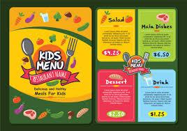 cute colorful kids menu template download free vector art stock