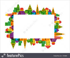 Colorful City Illustration Of Colorful City Frame