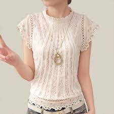 white lace blouses blusas femininas 2018 summer fashion plus size crochet