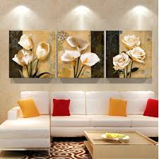 Modern Art Deco Interior No Frame 3 Piece Brown Orchid Modern Art Deco Mural Painting The