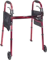 senior walkers with wheels portable folding travel walker with 5 wheels and fold up legs