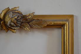 elegant french vintage wooden frame with rose decoration french