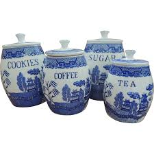 blue willow canister set vintage retro kitchen pinterest