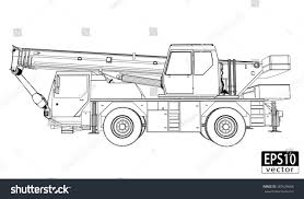 crane truck wireframe side view eps10 stock vector 387629668