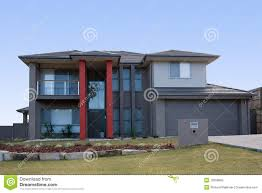 modern grey house with red pillars stock photo image 10358860