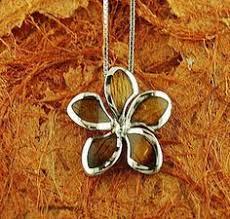 Koa Wood Plumeria Flower Sterling Silver Pendant Koa Wood Inlaid Sterling Silver Hibiscu Pendant Makani Hawaii