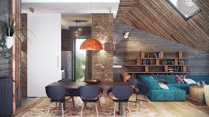 fantastic loft design gray wooden wall brown brick pillar dark