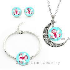 new year jewelry santa claus necklace earrings bracelet set women
