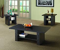 3 piece black coffee table sets amazon com coaster 3 piece occasional table set in black finish