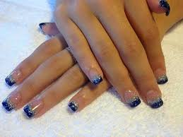 full set builder gel nails in majestic blue and hazed silver led