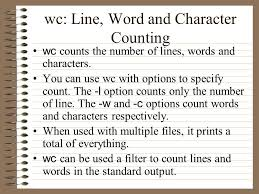 Count No Of Words In Unix Cs 497c Introduction To Unix Lecture 23 Simple Filters Chin