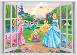 disney princess wall sticker 3d window view art decal mural decal disney princess wall sticker
