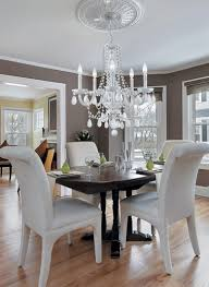 Modern Crystal Dining Room Chandeliers With White Chairs - Crystal dining room