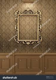 Wooden Interior Royal Golden Frame On Wall Wooden Stock Illustration 72053746