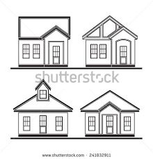 set drawing houses flat design vector stock vector 241832911