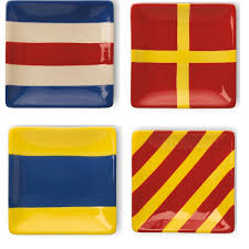 nautical flag amazon com boston international ceramic appetizer plates