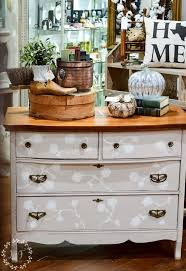 fall antique booth display and marzipan milk painted dresser