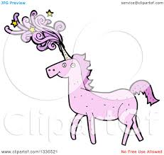 clipart of a pink unicorn with magic flowing from its horn