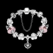 european sterling silver charm bracelet images Sterling silver european pink beads heart lucky charm bracelet l5 jpg