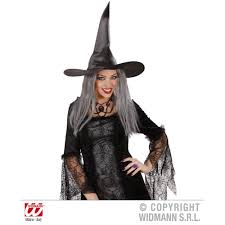 witches hat with grey hair satin from halloween hq