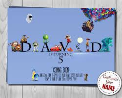 pixar logo invitation disney birthday invite customizable name
