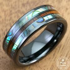 ceramic rings images Hi tech black ceramic ring with abalone pau 39 a shell koa wood tri jpg