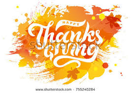 happy thanksgiving text lettering stock vector