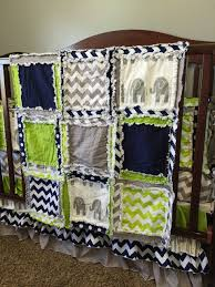 Green Elephant Crib Bedding Elephant Baby Bedding Lime Green Navy Blue And Gray By A Vision