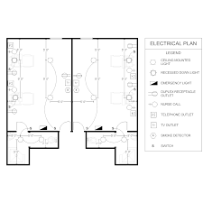 Smart Draw Floor Plans by Electrical Plan Patient Room