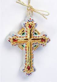 bejeweled holy cross glass personalized ornaments